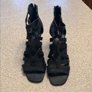 Franco Sarto Black Wedge Sandals